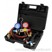 4 Way AC Manifold Gauge Set R410A R404A R22 w/Hoses + Hi & Low Coupler Adapters 568811473