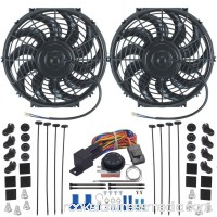 "Dual 12"" Inch Electric Radiator Fan & Adjustable Thermostat Control Kit"