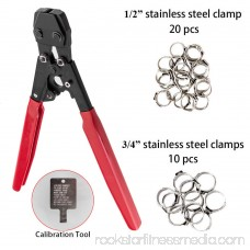 Zimtown Portable PEX CINCH Crimping Tool with 20 PCS 1/2 Clamps and 10 PCS 3/4 Clamps, Stainless Steel
