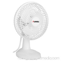 "Lorell 6"" Two Speed Tilt Plastic Desk Fan, White   554602787"