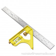 Stanley Tools Combination Square, Steel, 12, Yellow/Chrome 563395069