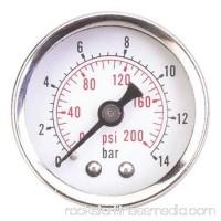 GROZ 36JN76 Pressure Gauge, Mechanical, 1/4in. MNPT