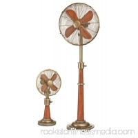 53 Stylish Gold Base and Neck with Cherry Wood-Grain Body Standing Floor Fan