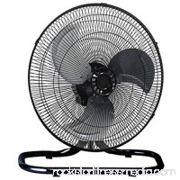 """Premium Large High Velocity Industrial Floor Fan with 18"""" Floor Stand Mount and Oscillation, Cool Black and Silver   556259815"""